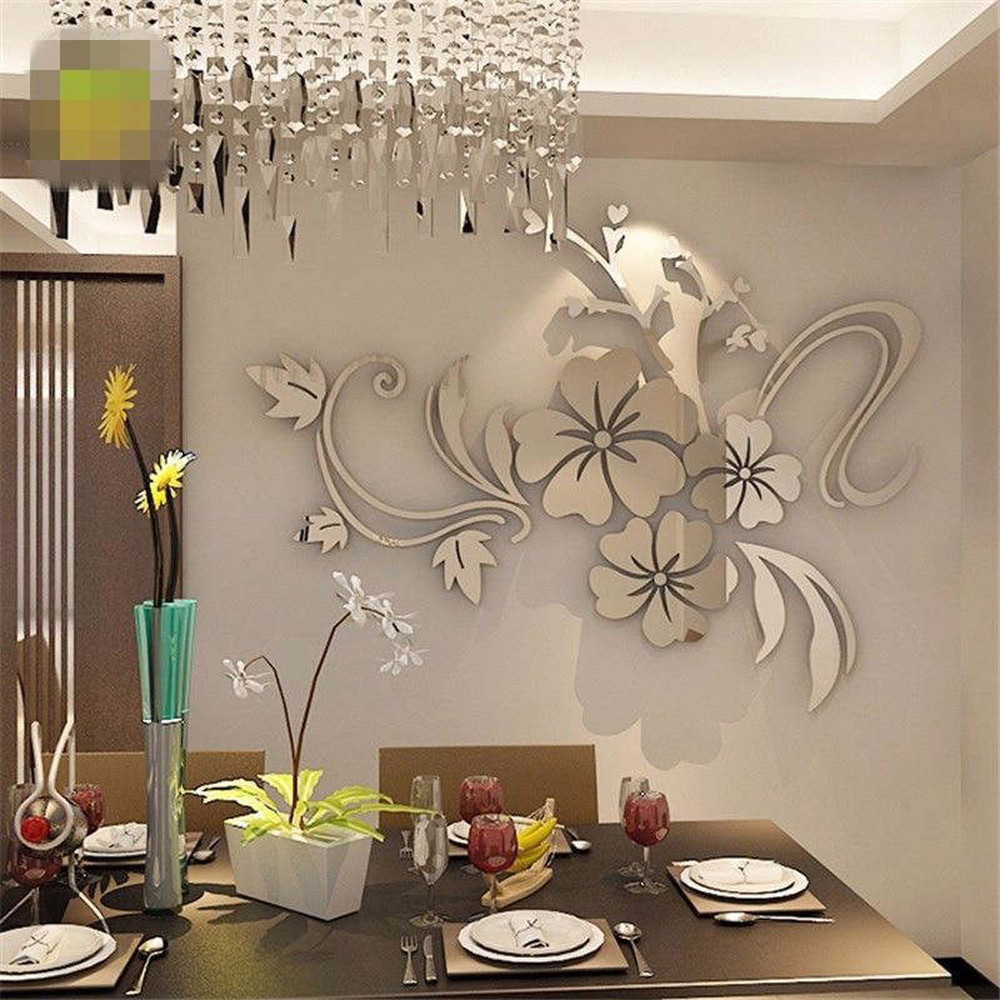 2Colors 3D Mirror Floral Art Removable Wall Sticker Acrylic Mural Decal Home Room Decor Home Commercial Space DIY Decor