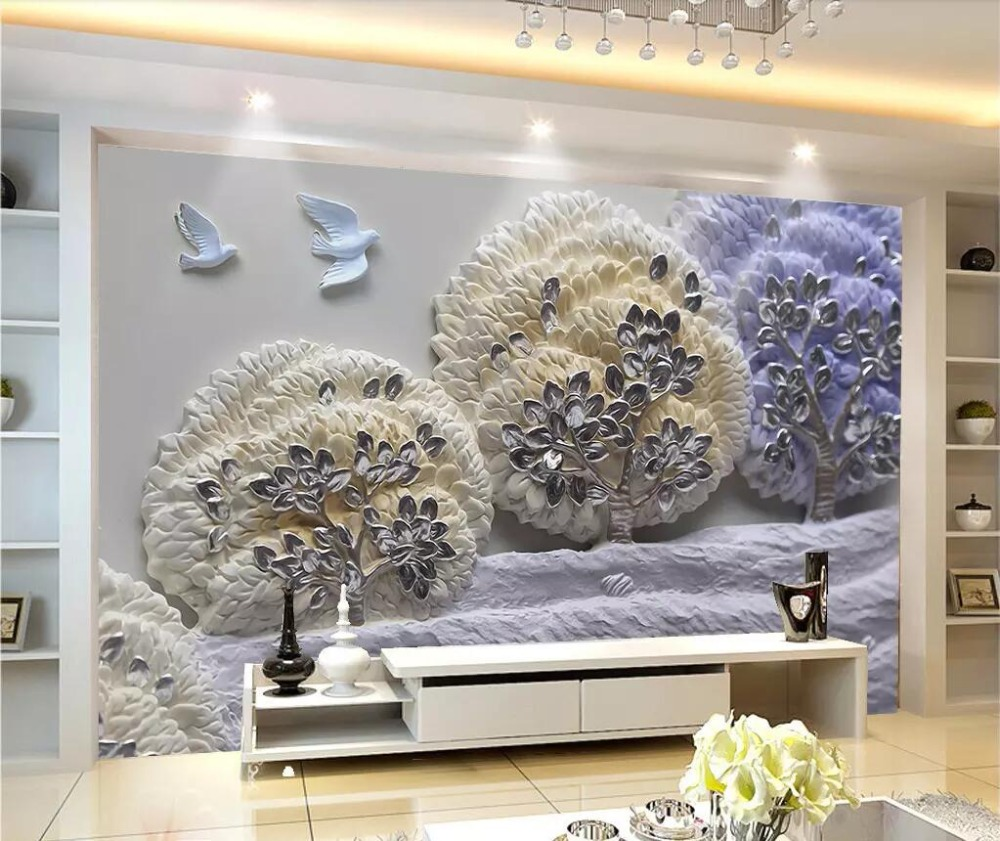 3D Three-dimensional Forest Relief Murals Resin Landscape Painting Nordic Decorative Painting