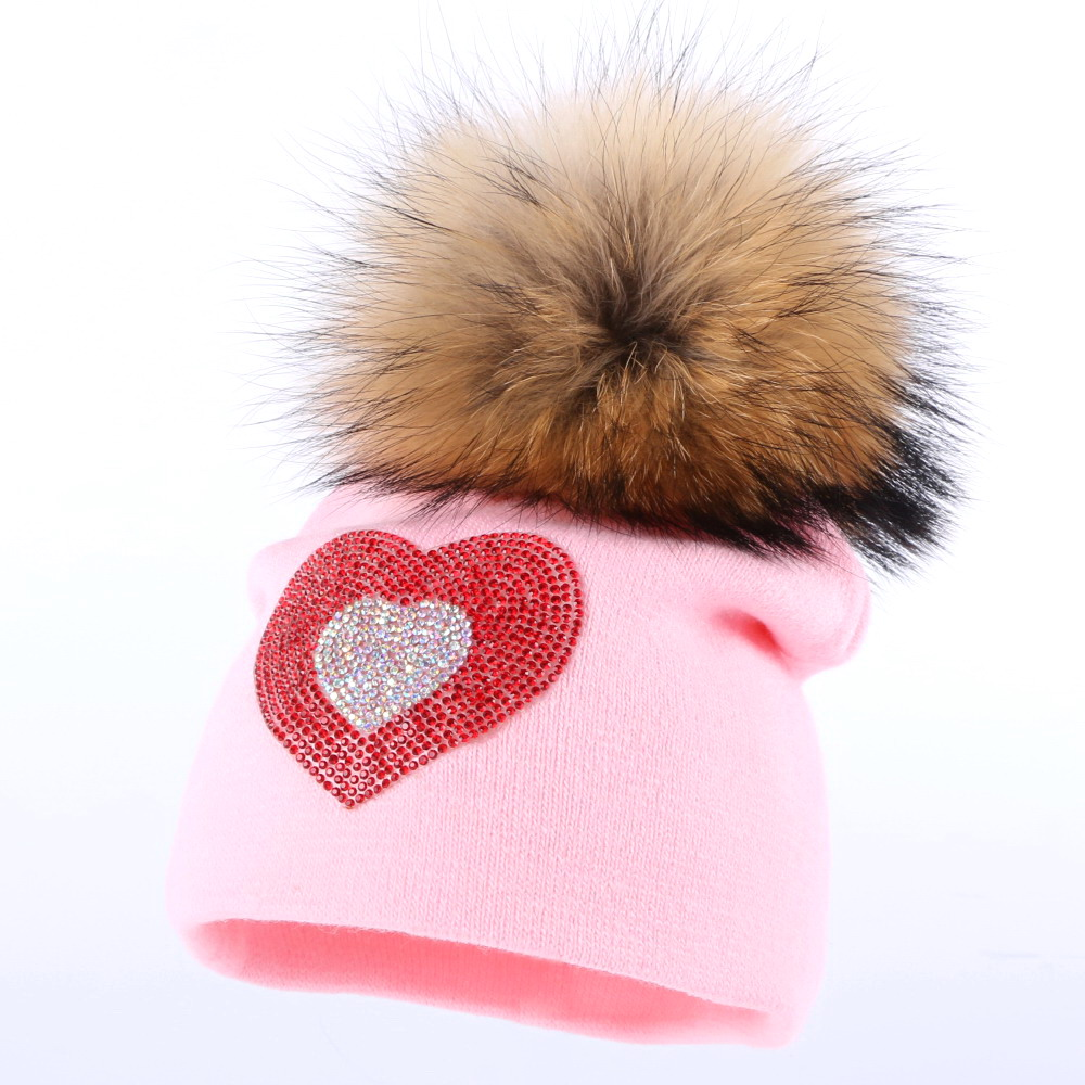 boy girl children character winter hats genuine mink pompom skullies warmer outdoor casual skullies 0-2 year old baby gorro hat skullies