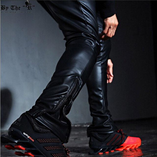 Fashion Men's Punk Rock Armor Simple PU Faux Leather Tie Zip Ankle Pants  Long Trousers Full Length Pants M-2XL 2