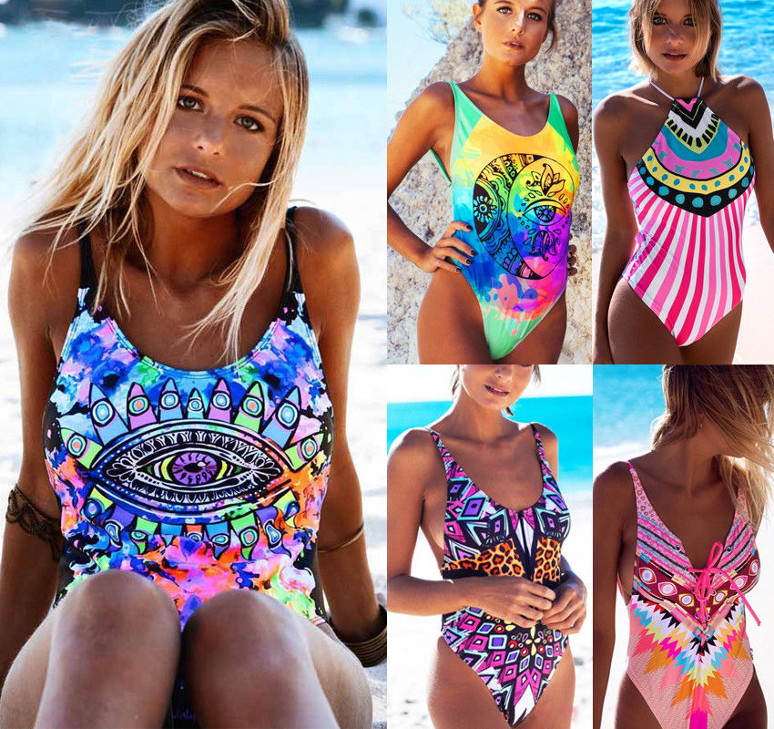2018 Brand New Women One piece Bikini Push-Up Padded Swimwear Swimsuit Bathing suit Printing Bikini onepiece