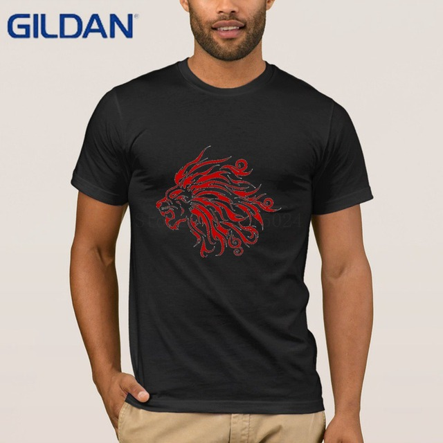 935ad72f1 Gildan Custom Popular T Shirt For Mens Lion Tattoo Tee Shirt For Men O-Neck Graphic  T-Shirt Man Pictures Famous