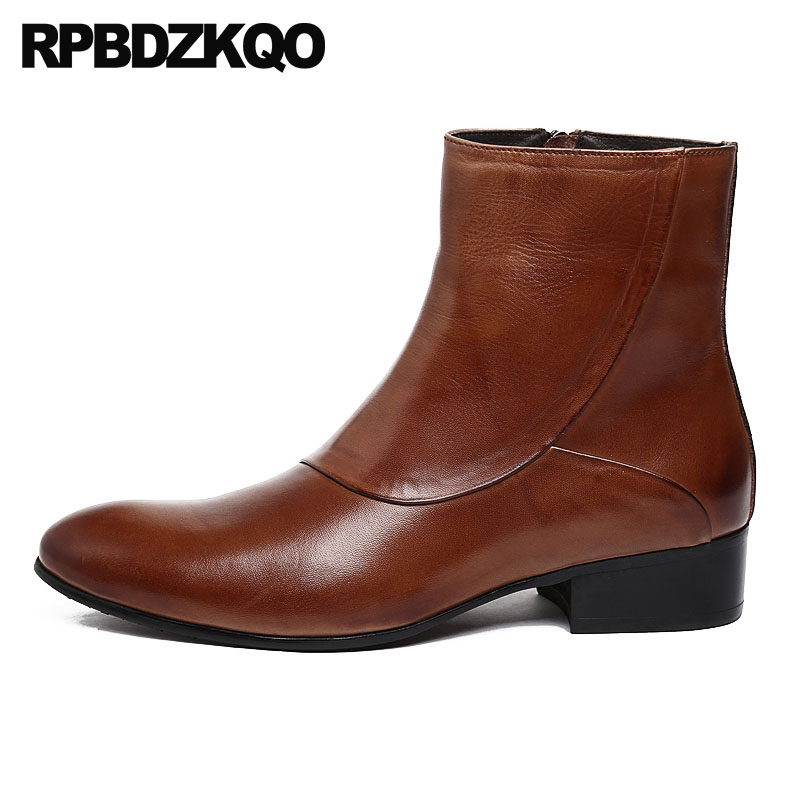 Short Shoes Autumn Pointed Toe Chunky Zipper 2018 Stylish Ankle British Style Men Full Grain Leather Boots Designer Fall Brown 2 colors 2017 new men s full grain leather business casual popular british style ankle boots rivets pointed toe shoes for men