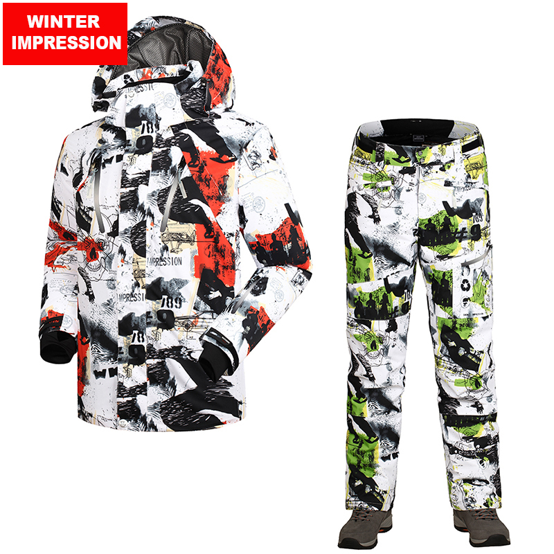 Winter Impression 2018 New Men Ski Jacket+Pants Windproof Waterproof Outdoor Sport Wear Camping Riding Snowboard Skiing Suit