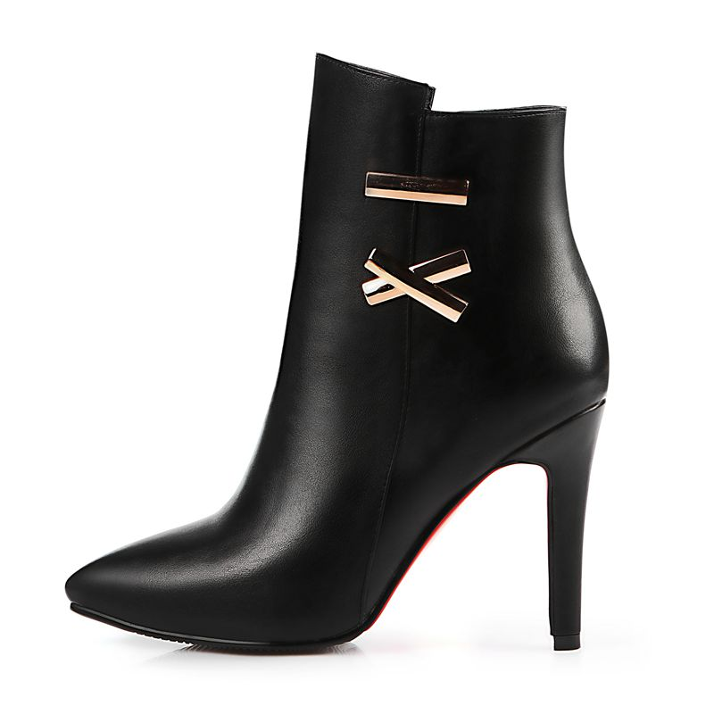 ФОТО Spring Autumn Women Ankle Boots High Heel Shoes White/Black/Red Color Short Boots Big Size EU34-43 7650