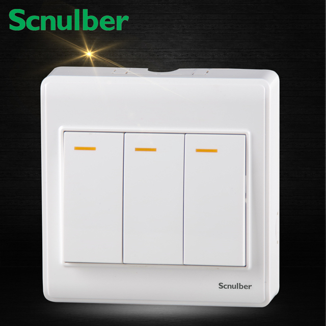 white 3 gang 1 way surface mounted electric wall switch for home ...