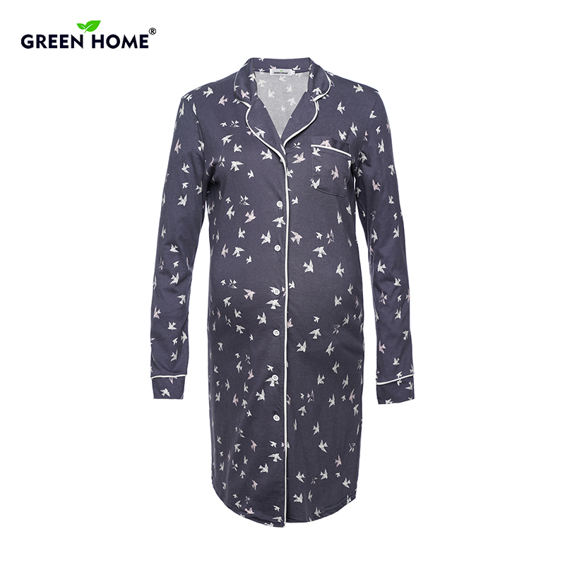 Green Home Winter Pregnancy Pajamas Long Sleeve Sleepwear for Pregnant Women Front Button Turn Down Collar Maternity Clothes stylish turn down collar long sleeve spliced cape coat for women