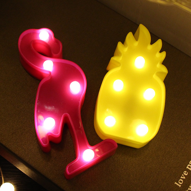 1Pcs LED Mini Night Lights Flamingo Pineapple Cactus 3D Lights Festival Bedroom Party Decor Kids Baby Birthday Christmas Gift (6)
