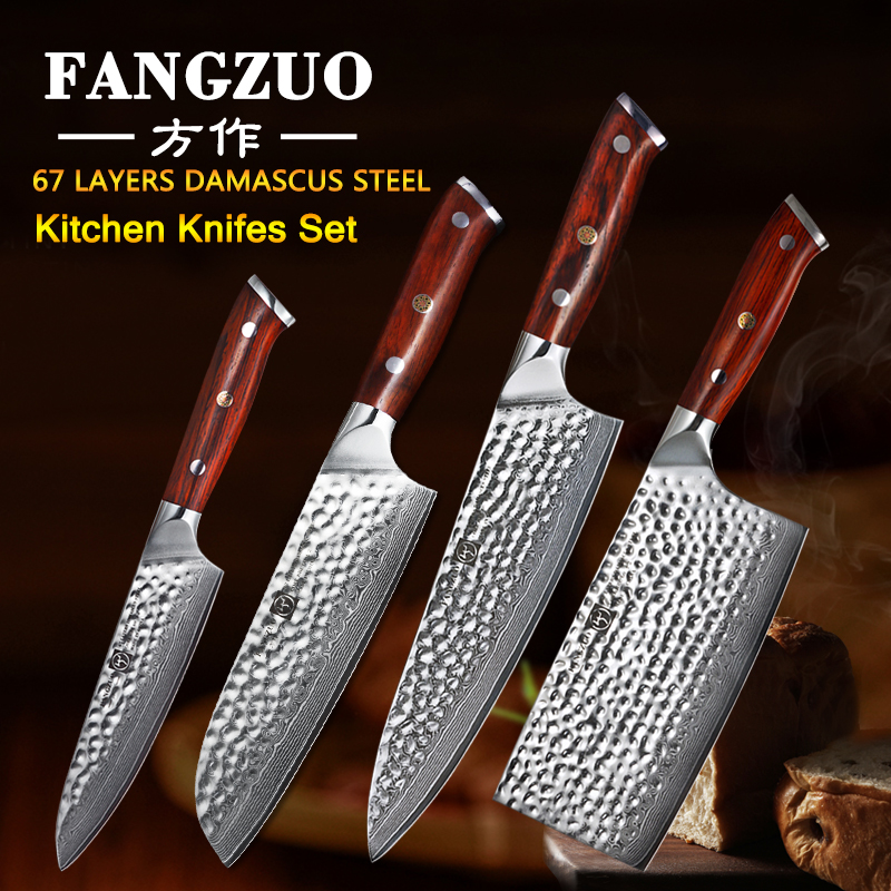 FANGZUO Japanese Damascus Steel Cooking Knife Set Stainless steel handle Chef Santoku Cleaver Utility Knives Kitchen Sets