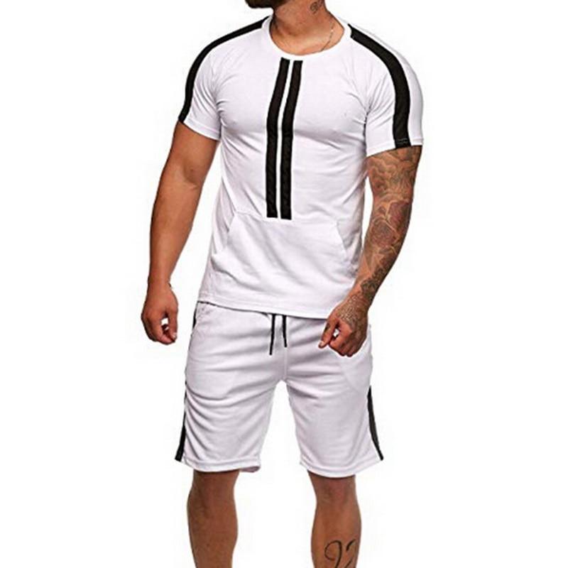 Lasperal Men 2 Pieces Set Fashion Striped Sportwear Tracksuit Summer Short Sleeve T-Shirt Casual Drawstring Shorts Suit Male