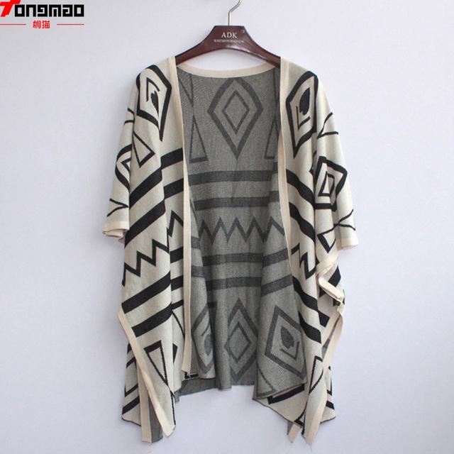 El nuevo Otoño Y el Invierno 2016 de la Mujer Salvaje Patrones Geométricos Suelta Suéter de Punto Cardigan Chal de Aire acondicionado de la Camisa Capa fina
