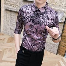 Mens Shirt Blouse Men Summer Hawaiian Camisa masculina Social clothing Half sleeve Vintage pattern