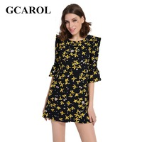 GCAROL 2017 Women New Arrival Floral Printed Dress Flare Sleeve Summer Spring Dress High Quality