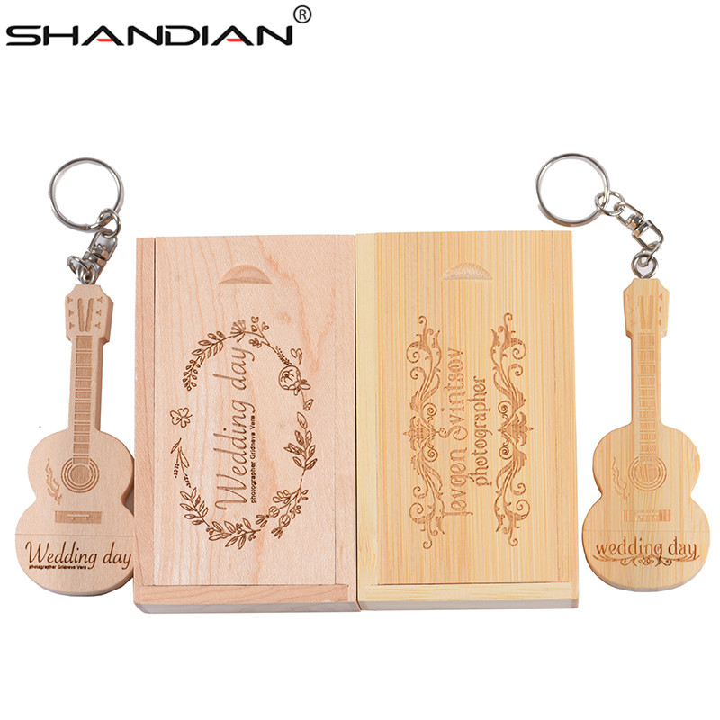 Amicable Shandian Logo Customized Wooden Guitar Pen Drive Guitars Usb Flash Drive Memory Stick Pendrive 8g 16gb 32gb Metal Keychain Gift Usb Flash Drives External Storage