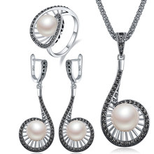 Ajojewel Size 7-9 High Quality Vintage Simulated-pearl Long Water Drop Jewelry Set For Women Elegant Party Anniversary Gift(China)