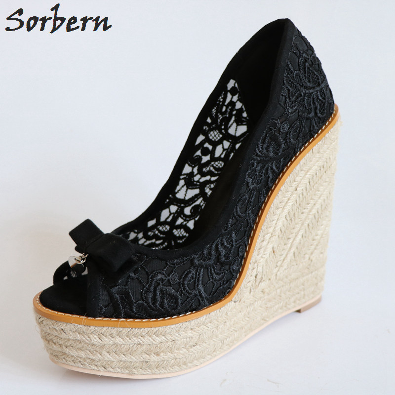 Sorbern Retro Black Lace Women Wedge High Heels Open Toe Rope Wedge High Heels Platform Shoes Ladies Bowknot Slip On Pump Heels цены онлайн