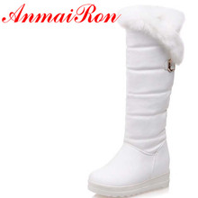 лучшая цена Rabbit Round Toe Winter Boots For Women New Big Size34-42Round Toe Feathers Knee-High Boots Black Red White PU Warm Snow