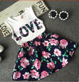 kids clothes baby girl clothes white Sleeveless LOVE T-shirt + Skirt 2pcs fashion summer clothes suit children 3 ~ 7 years