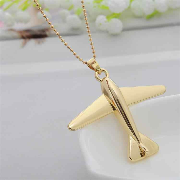 Simple Design Golden Aircraft Airplane Necklace Men Women Jewelry Chain Collares Choker Necklaces