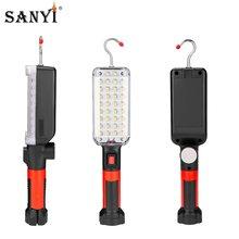 Lampe de poche Portable à 34 led, fonctionnement magnétique, Rechargeable par USB, torche suspendue avec crochet, lanterne pour tente, réparation automobile, 18650
