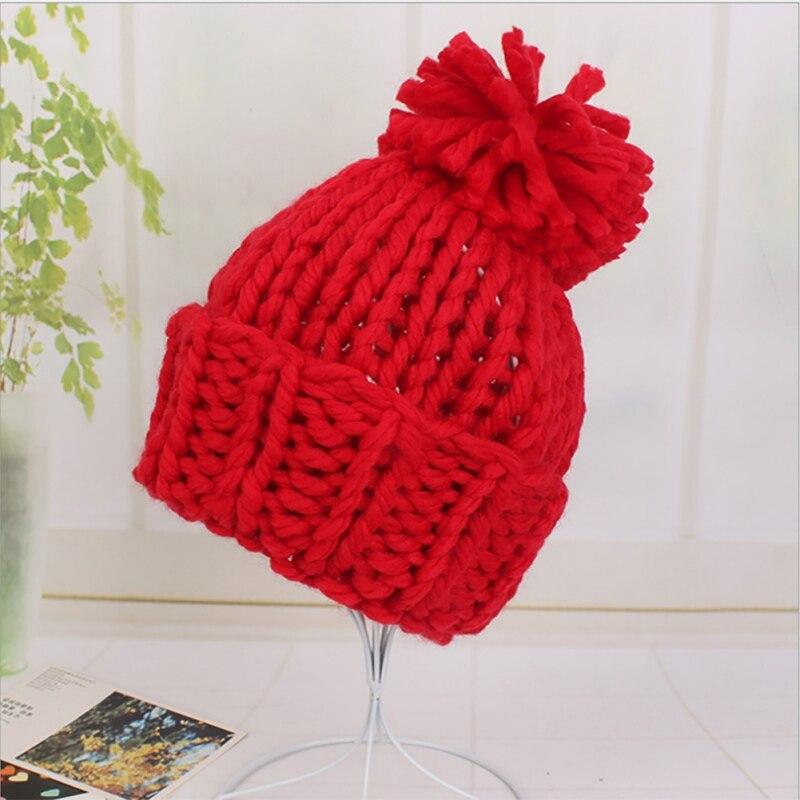 Knit wool ball bonnets Casual streetwear hat warm cap Women fall winter 2017 cute beanie hat female