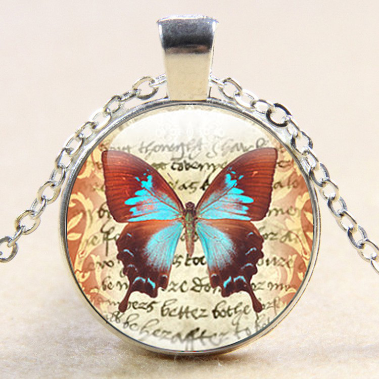 New Fashion Butterfly Art Glass Pendant Butterfly Glass Pendant Necklace Butterfly Jewelry drop shipping YLQ0742