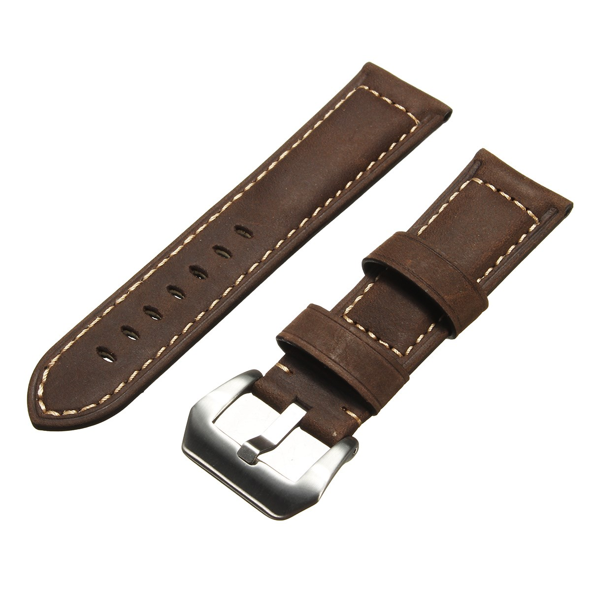 New Mens Leather Watch Strap 22 24mm Dark /Light Brown for Panerai Watch High Quality Handmade Retro Leather Strap new matte red gray blue leather watchband 22mm 24mm 26mm retro strap handmade men s watch straps for panerai