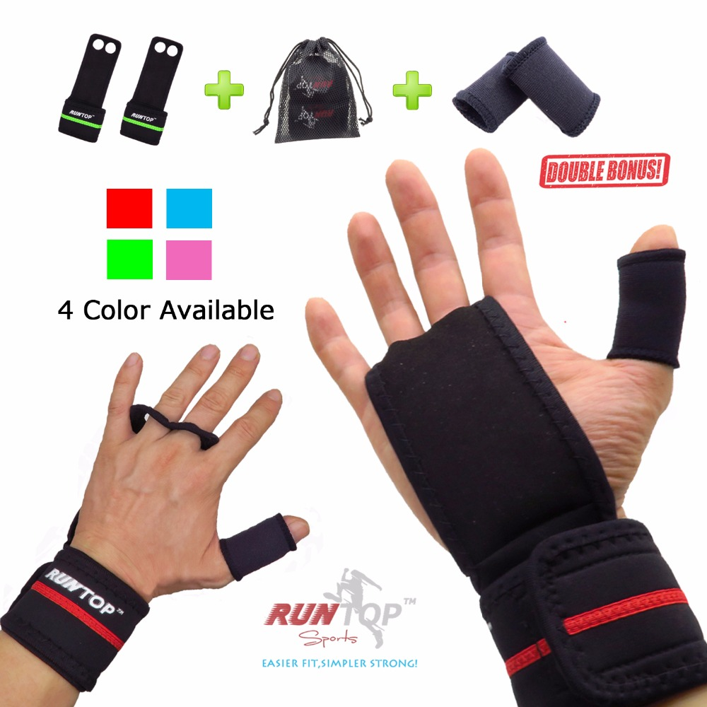 Motorcycle gloves palm protection - Runtop Workout Fitness Gym Weight Lifting Crossfit Gloves Leather Hand Grips Pad Palm Protect Wrist Support