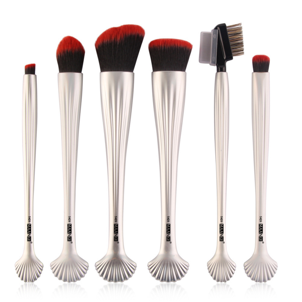MAANGE 6pcs Pro Shell Makeup Brushes Set Blush Foundation Power Eye Shadow Eyebrow Contour Make Up Brushes Comestic Beauty Tool