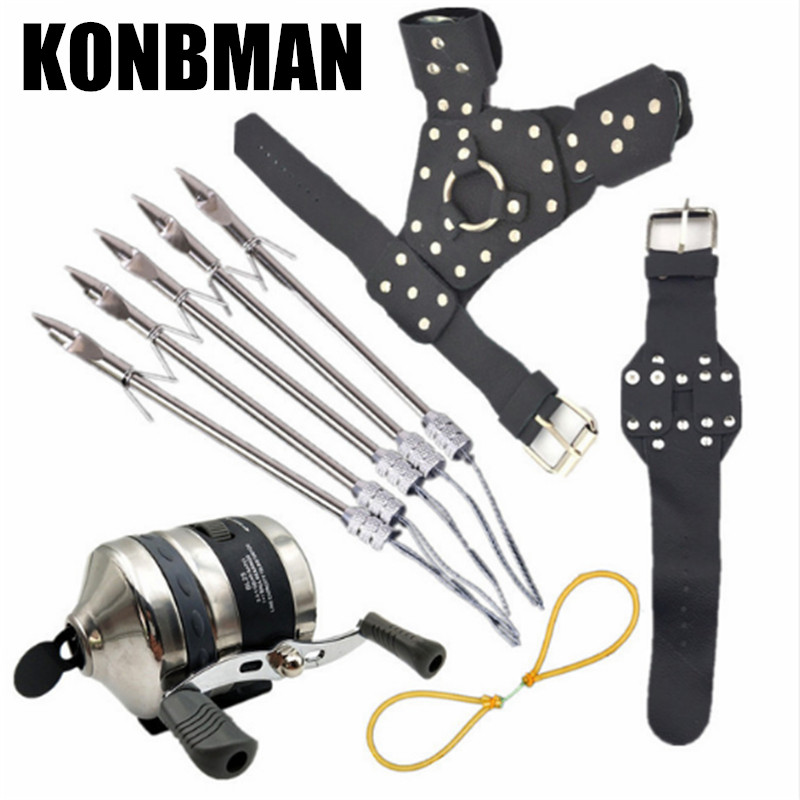 Fish Hunting DIY Slingshot Slingshot Wristband Hand Rubber Band Stainless Steel Reel Slingshot Shooting Bow Set