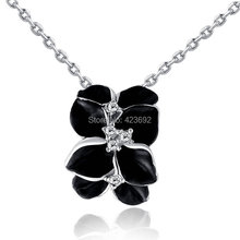 Chain Necklace for Women Daily Wear CZ&Pendant White Stone Black Rubber Flower Fashion Gifts Womens  Platinum Plated Jewelry