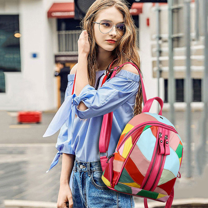 New Women's Backpack Multi-Function Large Capacity Mini Backpack Stitching Casual Sheepskin Leather Fashion Casual Women's Bag
