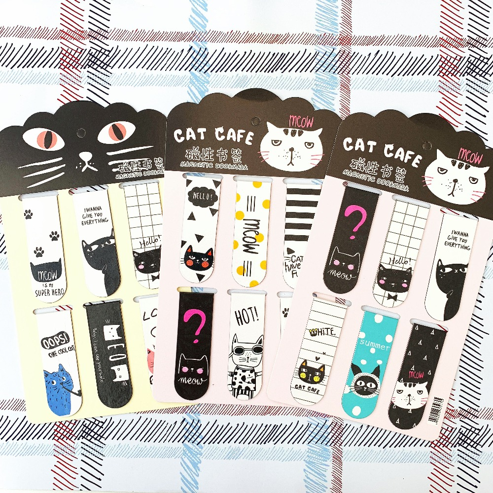 6pcs/Set Kawaii Oreo Cat Magnetic Bookmarks Books Marker Of Page Stationery School Office Supply Student Prize