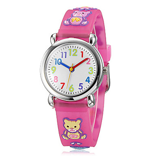 Children wristwatches bear waterproof kid watches brand quartz silicone watch baby for girls for Watches brands for girl