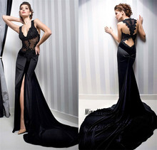 V-ausschnitt Applique Schwarzer Spitze-frontseiten-schlitz Schwarz Abendkleider Open Back Mermaid Abendkleid vestidos longos Kleid Formale