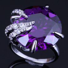 Rare Round Purple Cubic Zirconia White CZ 925 Sterling Silver Ring For Women V0558