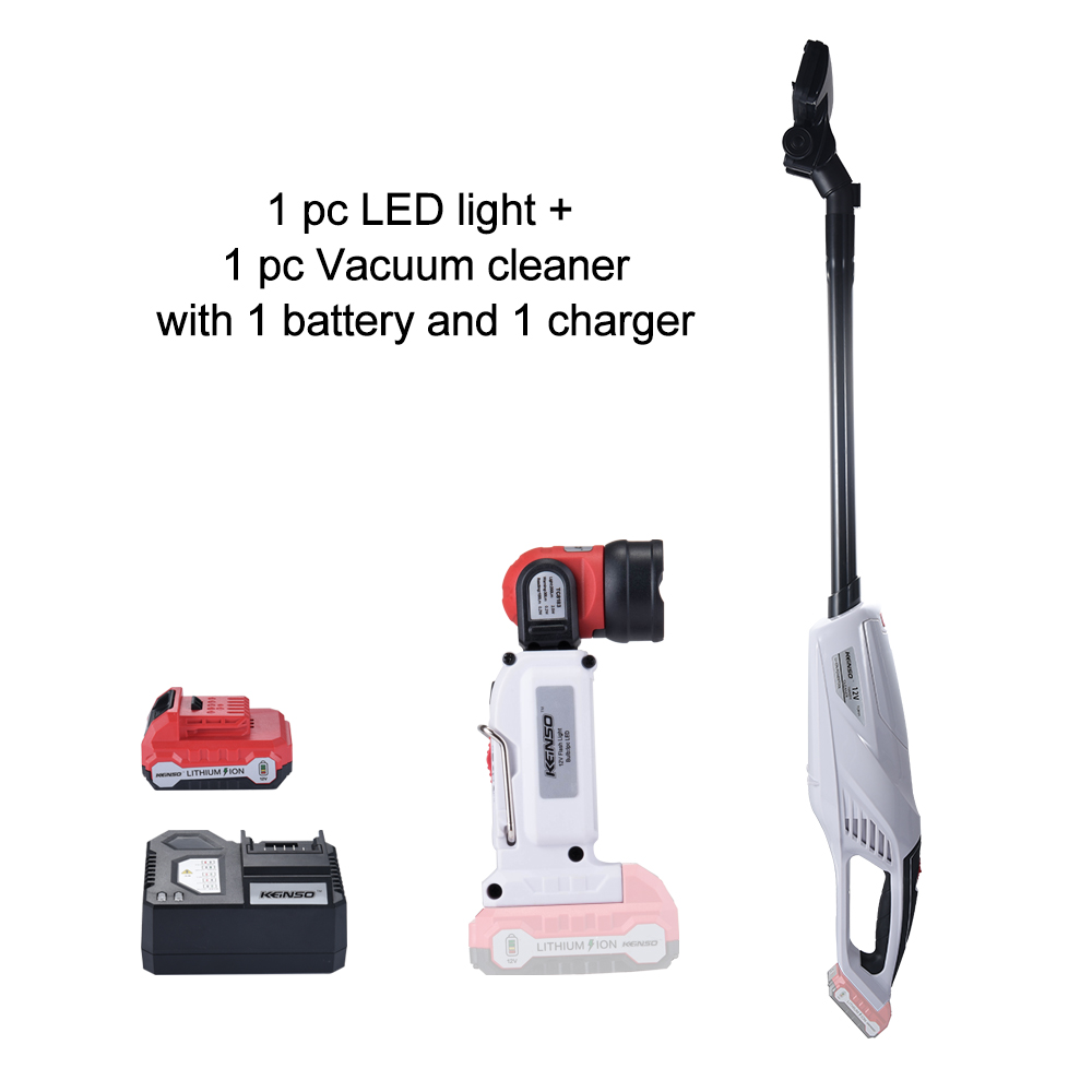 Keinso 12V power tools set Vacuum cleaner and LED light with one lithium battery and one chargerKeinso 12V power tools set Vacuum cleaner and LED light with one lithium battery and one charger