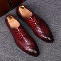 Итальянский дизайн мужская мода дышащий свадьба кожа коровы обувь плести молодых оксфорды обувь на шнуровке острым носом zapatos мужской