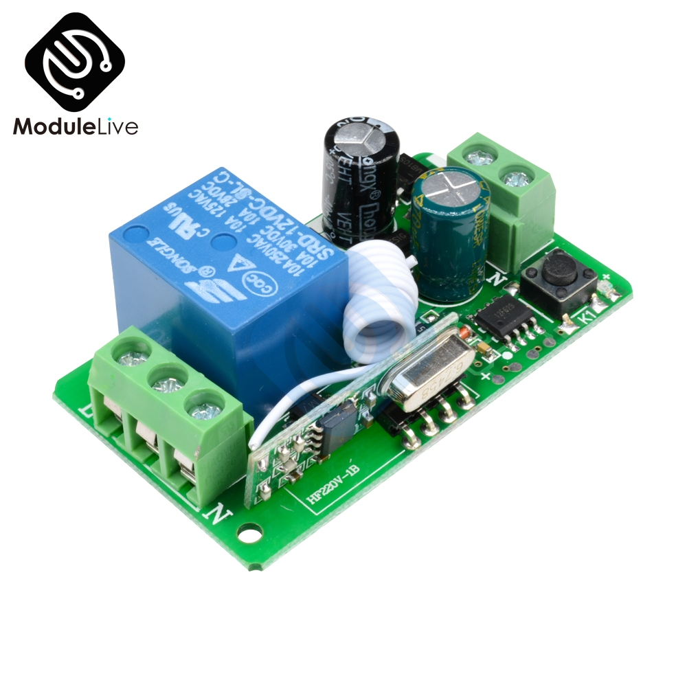315MHZ 433MHz DC 12V 220V 10A <font><b>1CH</b></font> 1 Way Ch Channel Wireless <font><b>RF</b></font> Remote Control Board Transmitter Receiver Relay Switch Module image