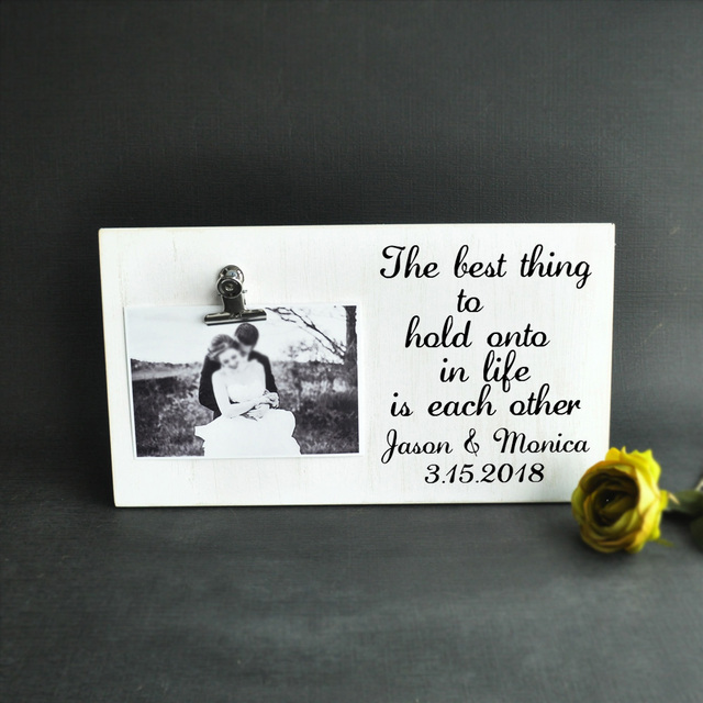 Custom Wedding Picture Frame Personalized Photo Board With Clip