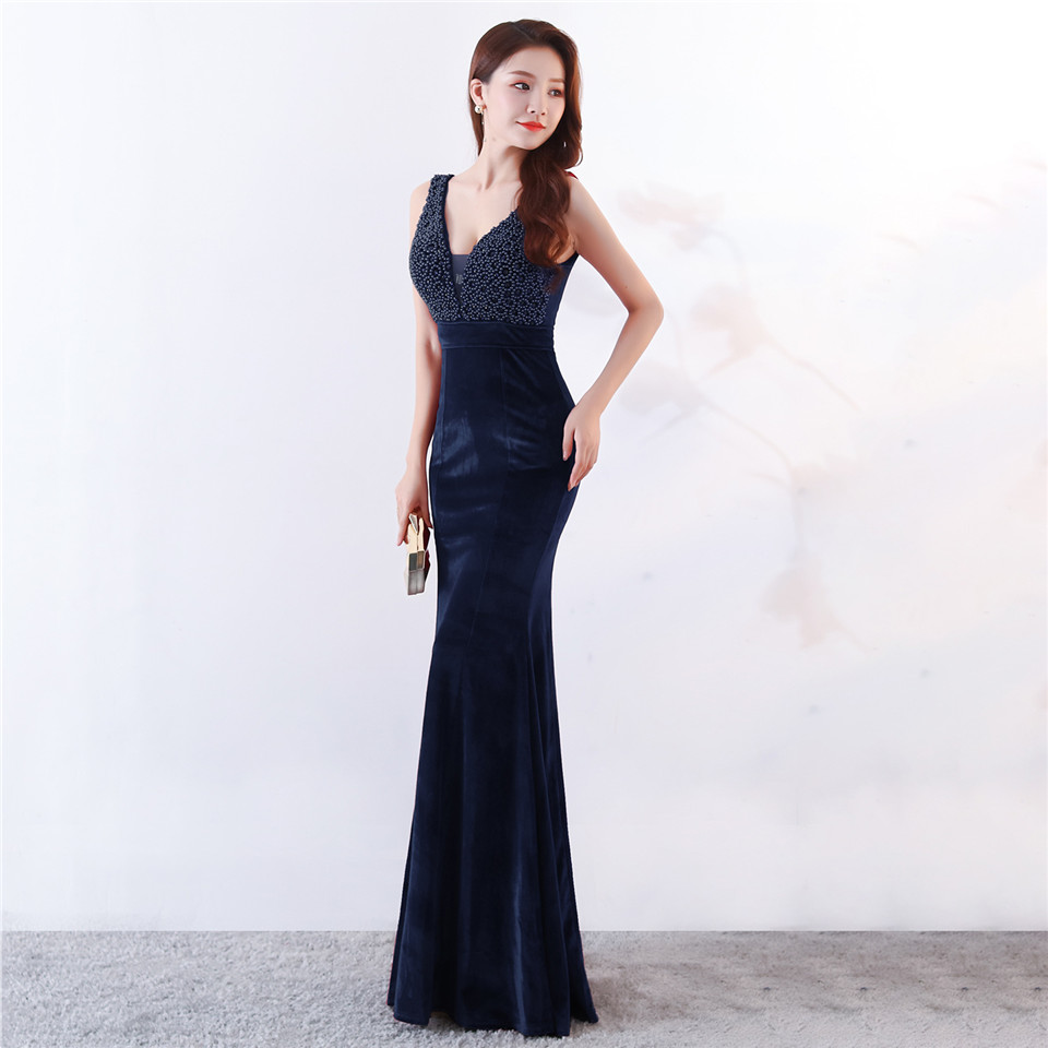 It's Yiiya Evening dress V-neck Beading Sleeveless Party Gown Sexy Backless Floor-length Zipper back Mermaid Prom dresses C198