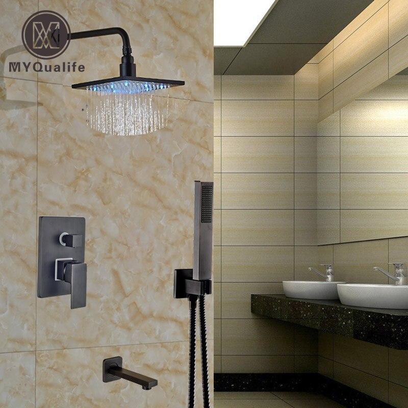 Роскошные масло втирают Бронзовый Свет смеситель для душа набор для поверхностного монтажа ванна смесители + Handshower