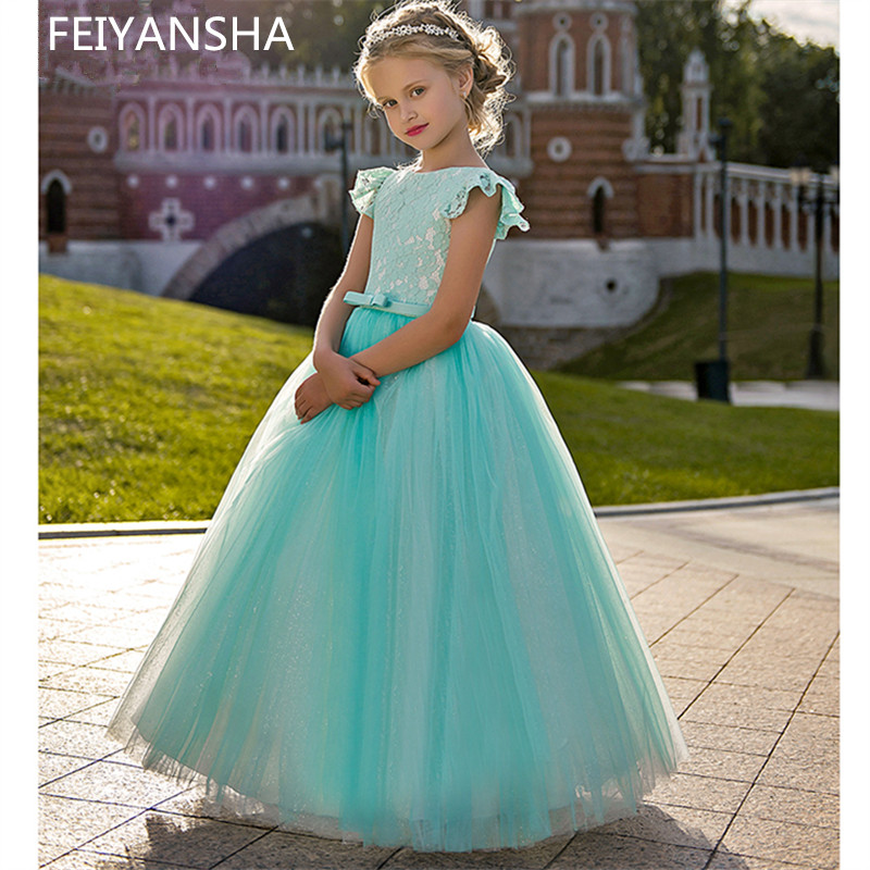 New Hot   Flower     Girl     Dresses   Royal Blue Bow Sashes O-Neck Three Quarter Lace Ball Gown Formal Pageant Communion Gown Vestido