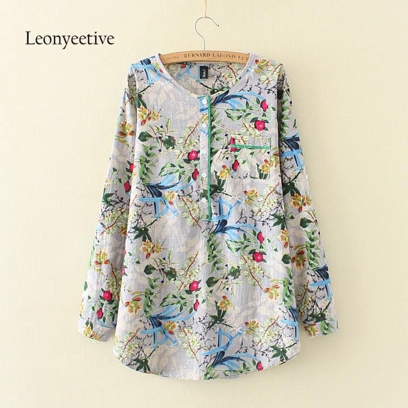 2017 summer autumn big size Women long Shirt Cotton Blouses Style Clothing Full Sleeve L ...