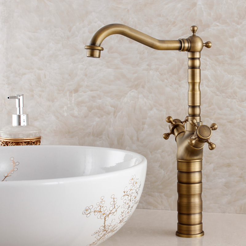 Antique copper hot and cold water mixer kitchen faucet sink mixer wash basin faucet