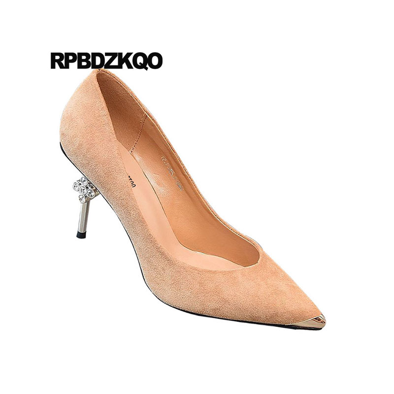 Talons apricot Métal Strass Élégant 3 Daim Chaussures Femmes Bout Nouveauté Nude Stiletto Pouce Pointu Pompes Hauts Taille 4 rouge Diamant En Scarpin 34 Noir HwZ55qgd