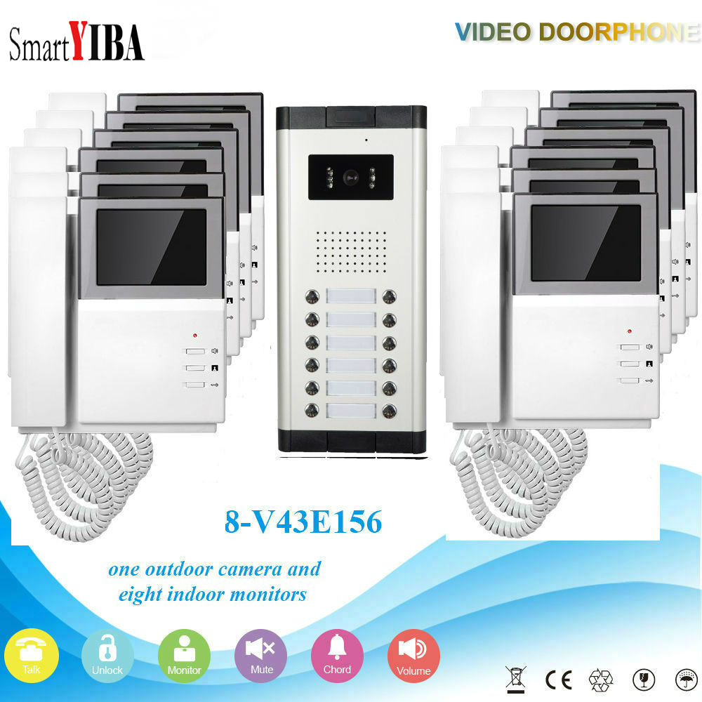 SmartYIBA Wired 4.3 Inch Color Visual Video Intercom Speakerphone System With 12 Monitors For Apartments Door Bell Door Phone