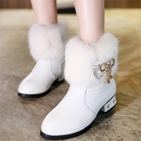 Girls Leather Boots Children Snow Boots Girls Boys Winter Shoes Kids Genuine Leather High Boots Size 26 37