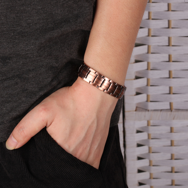 Vinterly Pure  Magnetic Bracelet Copper Vintage Hologram Chain & Link for Men 4