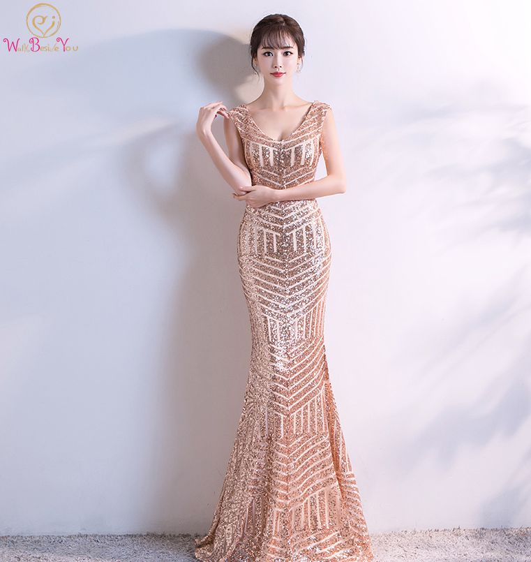 Walk Beside You Gold Sequined Evening Dresses Mermaid Long V neck Sexy Backless abendkleider dubai kaftan Party Prom Gowns 2018